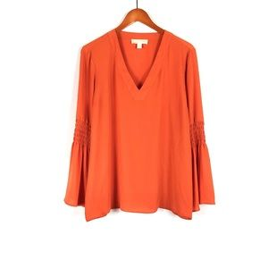 Michael Kors orange bell sleeve V neck top blouse